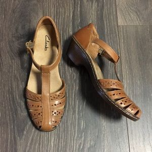 Clarks Light Brown T-Strap Wedge Sandal